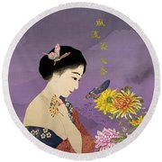 Butterfly Whisperer Round Beach Towel