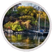 Bygdoy Harbor Round Beach Towel