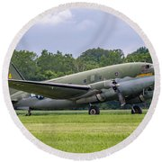 C-46 Commando Tinker Belle Round Beach Towel