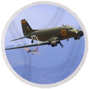 C-47 Gooney Bird At Salinas Round Beach Towel
