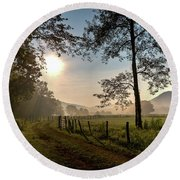 Round Beach Towel featuring the photograph Cades Cove Sunrise by Douglas Stucky