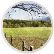 Cades Fence Round Beach Towel by Ricky Dean