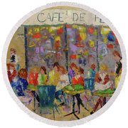 Cafe De Flore Round Beach Towel