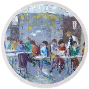 Cafe De Flore Paris Round Beach Towel