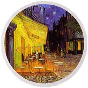 Round Beach Towel featuring the painting Cafe Terrace At Night by Van Gogh