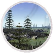 Calamites And Drepanophycus Populate Round Beach Towel