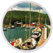 Camden Harbor Round Beach Towel
