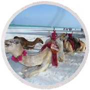 Camel On Beach Kenya Wedding4 Round Beach Towel