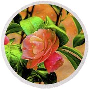 Camellia Candy Round Beach Towel