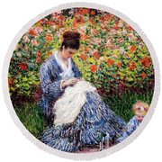 Camille Monet And A Child In The Artist's Garden In Argenteuil Round Beach Towel