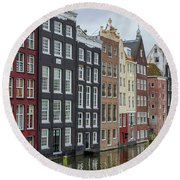 Canal Houses In Amsterdam Round Beach Towel