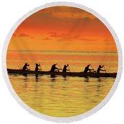 Canoe Practice Round Beach Towel by Scott Cameron