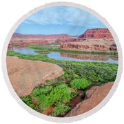 Canyon Of Colorado River In Utah Aerial View Round Beach Towel