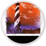 Round Beach Towel featuring the painting Cape Hatteras Lighthouse by Ryan Fox