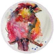 Cardinal Bird Round Beach Towel