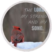 Cardinal In The Snowstorm With Scripture Round Beach Towel by Sandi OReilly