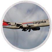 Cargolux Boeing 747-8r7 5 Round Beach Towel