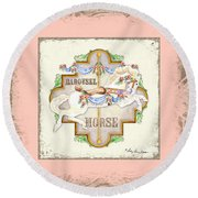 Carousel Dreams - Horse Round Beach Towel by Audrey Jeanne Roberts