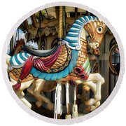 Round Beach Towel featuring the photograph Carousel Horse by Kathy Baccari