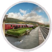 Round Beach Towel featuring the photograph Carrog Railway Station by Adrian Evans
