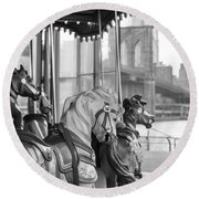 Carrousel Nyc Round Beach Towel