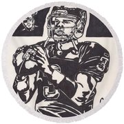 Round Beach Towel featuring the drawing Carson Palmer 1 by Jeremiah Colley