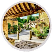 Castle Combe Village, Uk Round Beach Towel by Chris Smith