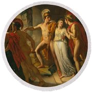 Castor And Pollux Rescuing Helen Round Beach Towel by Jean-Bruno Gassies