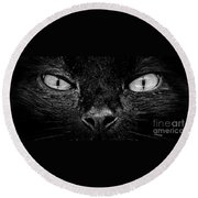 Cat's Eyes Round Beach Towel by Terri Mills