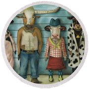 Cattle Line Up Round Beach Towel by Leah Saulnier The Painting Maniac