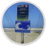 Tsunami  Round Beach Towel