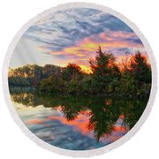Round Beach Towel featuring the photograph Centennial Lake At Sunrise by Mark Dodd