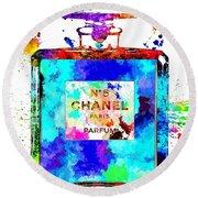 Chanel No. 5 Grunge Round Beach Towel by Daniel Janda
