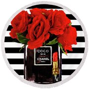 Chanel Perfume With Red Roses Round Beach Towel