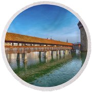 Chapel Bridge Round Beach Towel