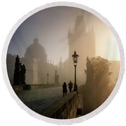 Charles Bridge, Prague, Czech Republic Round Beach Towel
