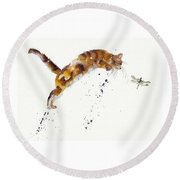 Chasing The Dragon Round Beach Towel