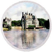 Round Beach Towel featuring the photograph Chateau De La Bretesche, Missillac, France by Joseph Hendrix