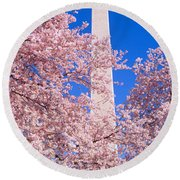 Cherry Blossoms And Washington Round Beach Towel