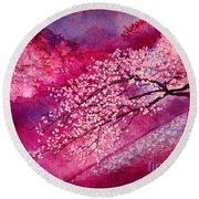 Round Beach Towel featuring the painting Cherry Blossoms by Hailey E Herrera
