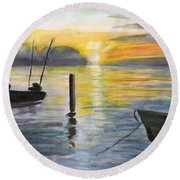 Chesapeake Sunset Round Beach Towel