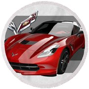 Chevrolet Corvette  C 7  Stingray With 3 D Badge  Round Beach Towel