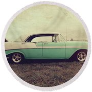 Round Beach Towel featuring the photograph Chevy Bel Air by Joel Witmeyer