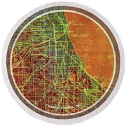 Chicago 1957 Old Map, Chicago Frank Lloyd Wright Quote Round Beach Towel