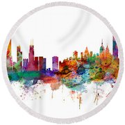 Chicago And New York City Skylines Mashup Round Beach Towel
