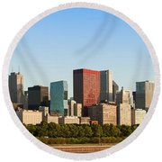 Chicago Downtown At Sunrise Round Beach Towel