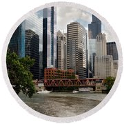 Chicago River Jet Ski Round Beach Towel