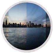 Chicago Skyline Time Slice  Round Beach Towel