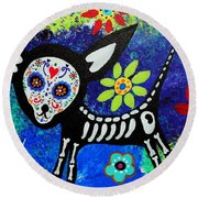 Chihuahua Day Of The Dead Round Beach Towel by Pristine Cartera Turkus