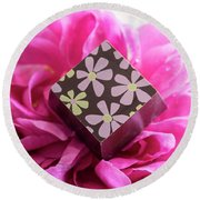 Chocolate Flower Round Beach Towel